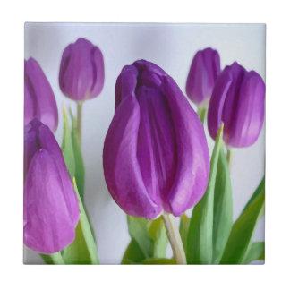 Painted Purple Tulips Tile