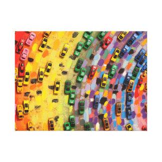 Painted Rainbow Cars Canvas Print
