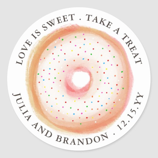 Painted Rainbow Sprinkle Doughnut Wedding Thank Classic Round