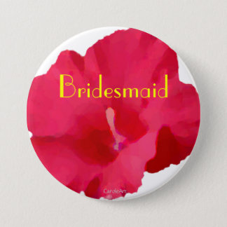 Painted Red Hibiscus 7.5 Cm Round Badge