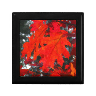 Painted Red Maple Leaf Small Square Gift Box