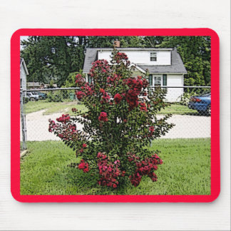Painted Red Myrtle Bush Mouse Pad