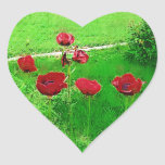 Painted Red Poppies In Bloom Heart Stickers