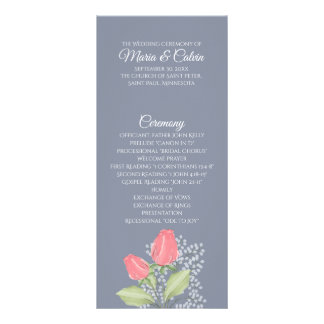 Painted Red Rose on Blue Program Rack Card