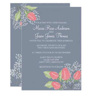 Painted Red Rose on Blue Wedding Invitation