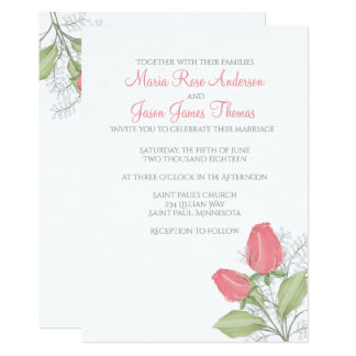 Painted Red Rose Wedding Invitation