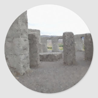 Painted Reflections of Stonehenge Round Sticker