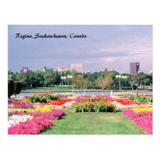Painted Regina Legislative Gardens Postcard