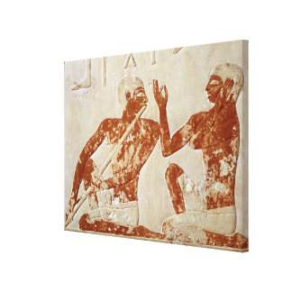 Painted relief depicting a flute player canvas print
