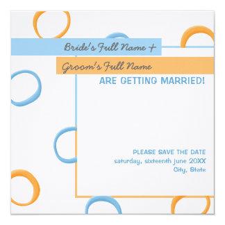 "Painted Retro Circles blue Wedding Announcement 5.25"" Square Invitation Card"
