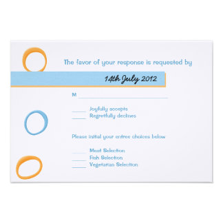 Painted Retro Circles blue Wedding RSVP Card Personalized Invitations