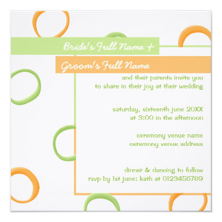 Painted Retro Circles green 4 Wedding Invite