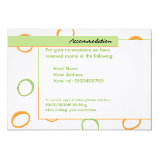 "Painted Retro Circles green Wedding Enclosure Card 3.5"" X 5"" Invitation Card"