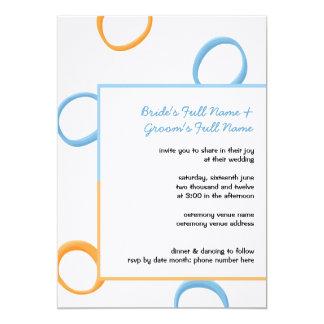 "Painted Retro Circles orange blue 3 Wedding Invite 5"" X 7"" Invitation Card"