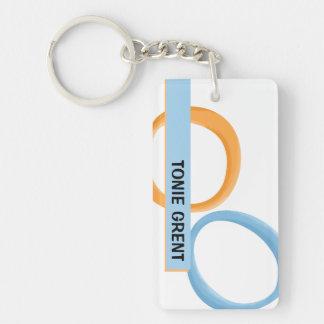 Painted Retro Circles orange blue Acrylic Keychain