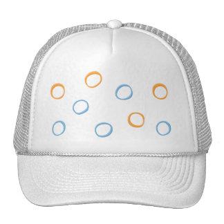 Painted Retro Circles orange blue Hat