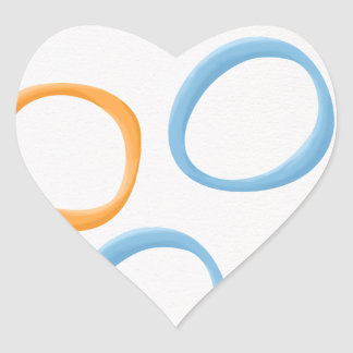 Painted Retro Circles orange blue Heart Sticker