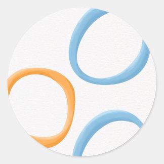 Painted Retro Circles orange blue Round Sticker