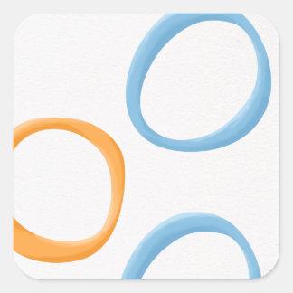 Painted Retro Circles orange blue Square Sticker