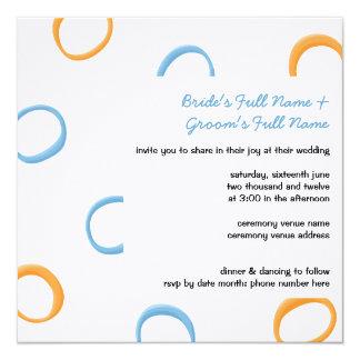 Painted Retro Circles orange blue Wedding Invite