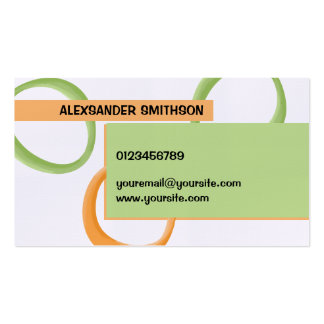 Painted Retro Circles orange green Business Card