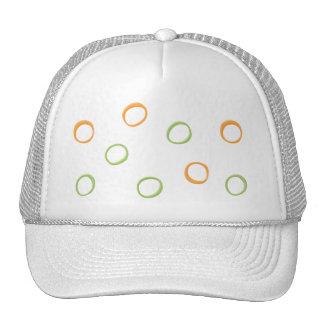 Painted Retro Circles orange green Hat