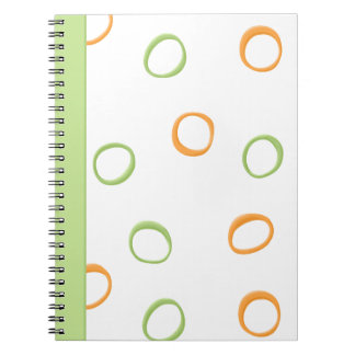 Painted Retro Circles orange green Notebook