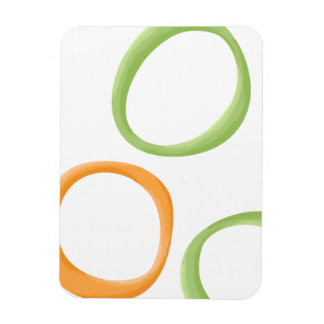 Painted Retro Circles orange green Premium Magnet