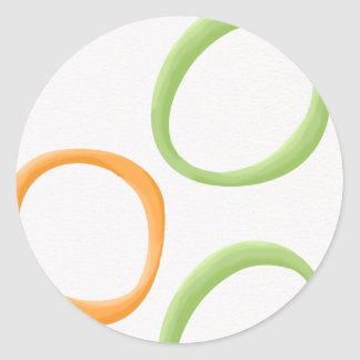 Painted Retro Circles orange green Round Sticker
