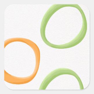Painted Retro Circles orange green Square Sticker