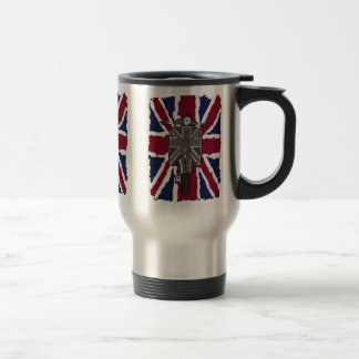 painted retro scooter and union jack stainless steel travel mug