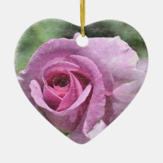 Painted Rose Heart Ornament