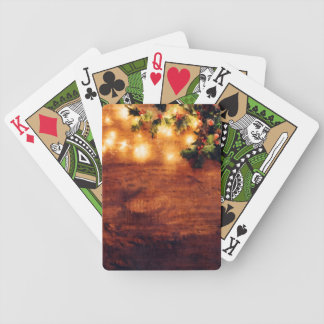 Painted Rustic Christmas - Wood with Holly Trim Bicycle Playing Cards