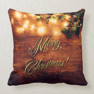 Painted Rustic Christmas - Wood with Holly Trim Cushion