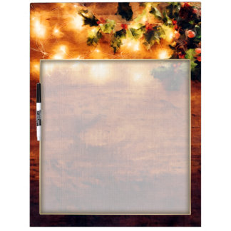 Painted Rustic Christmas - Wood with Holly Trim Dry Erase Board
