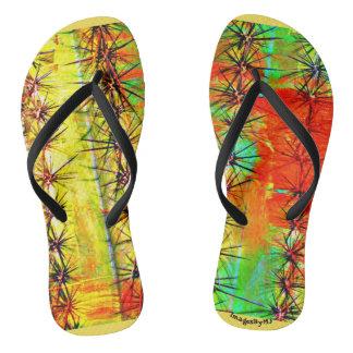 Painted Saguaro Flip Flops