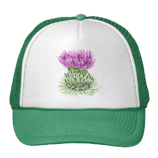 Painted Scottish Thistle Trucker Hats