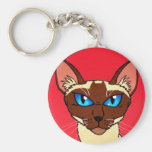 Painted Siamese Cartoon Basic Round Button Key Ring