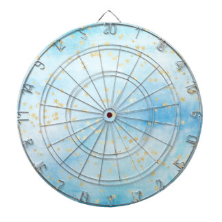 Painted Skies Sky Gold Stars Clouds Metal Cage Dartboard