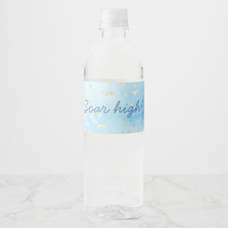 Painted Skies Sky Gold Stars Clouds Soar High Water Bottle Label