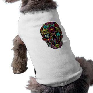 Painted Skull Floral Art Sleeveless Dog Shirt