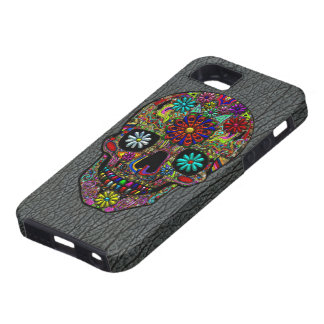Painted Skull Floral Art on Faux Shark Skin iPhone 5 Cases