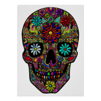 Painted Skull Floral Art Poster