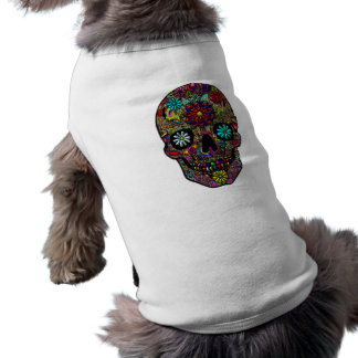 Painted Skull Floral Art Sleeveless Dog Shirt