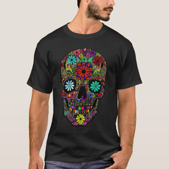 Painted Skull with Floral Design T-Shirt