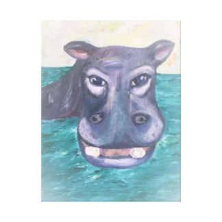 Painted Smiling Hippo on Canvas