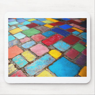 Painted Spanish tiles, blue, yellow and red photo Mouse Mat