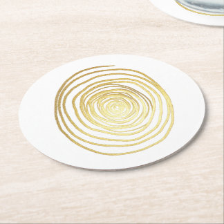 Painted Spiral Swirl in Faux Sparkly Gold Round Paper Coaster