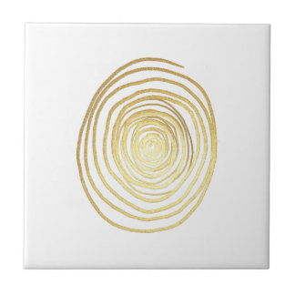 Painted Spiral Swirl in Faux Sparkly Gold Small Square Tile