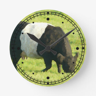 Painted Style Belted Galloway Cookie Cow Round Clock